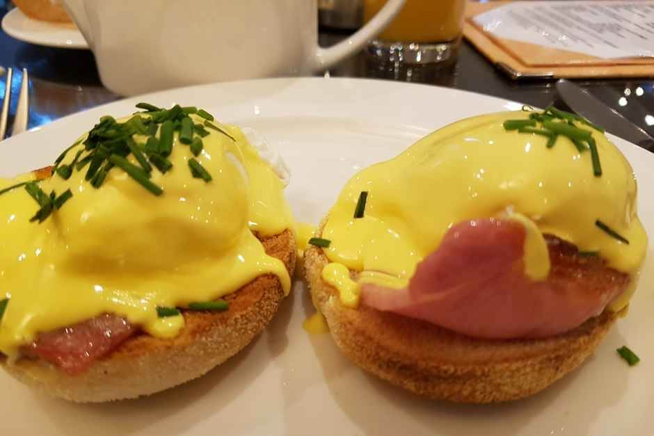 Salmon Eggs Benedict and waffles