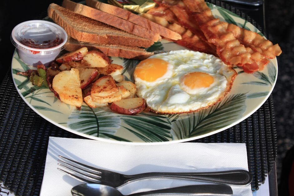 Fried eggs with bacon - typical American breakfast
