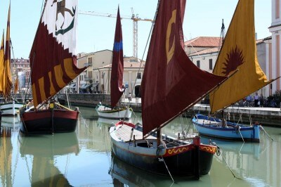 Historic sailing ships at the port of Cesenatico