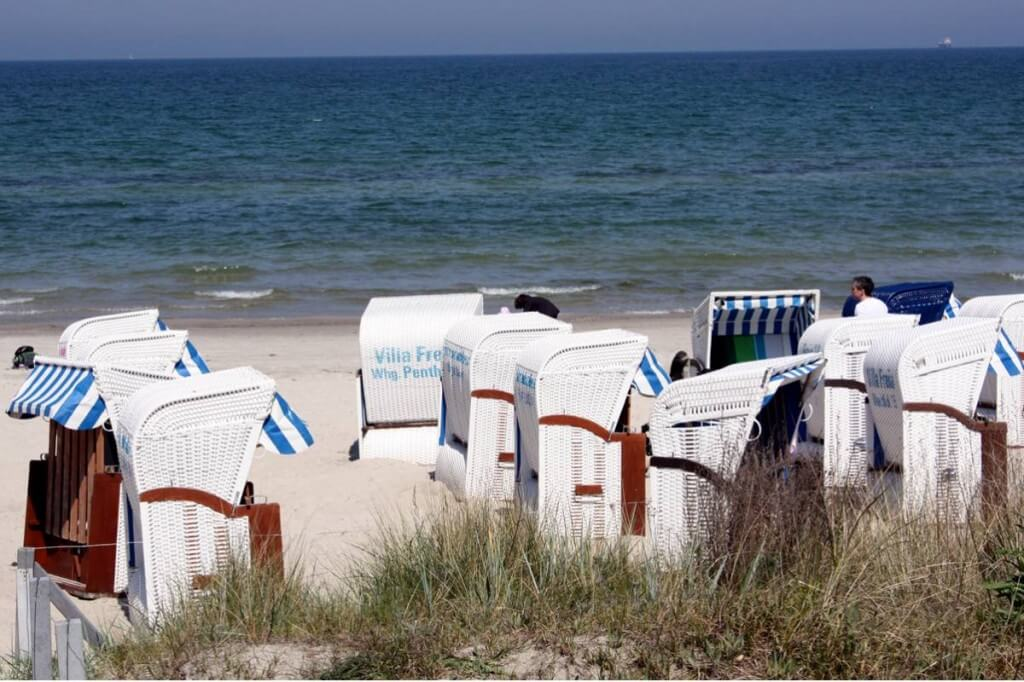 The beach in the seaside resort of Binz - beach chairs on the beach of Binz