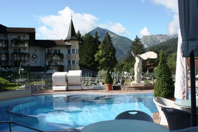 Pool with alpine view in Reiter's Posthotel in Achenkirch