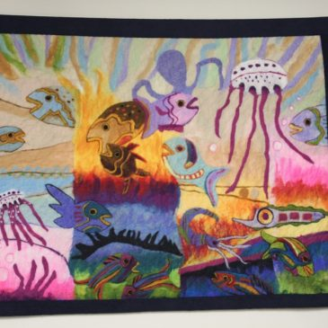 Colorful underwater world of felt