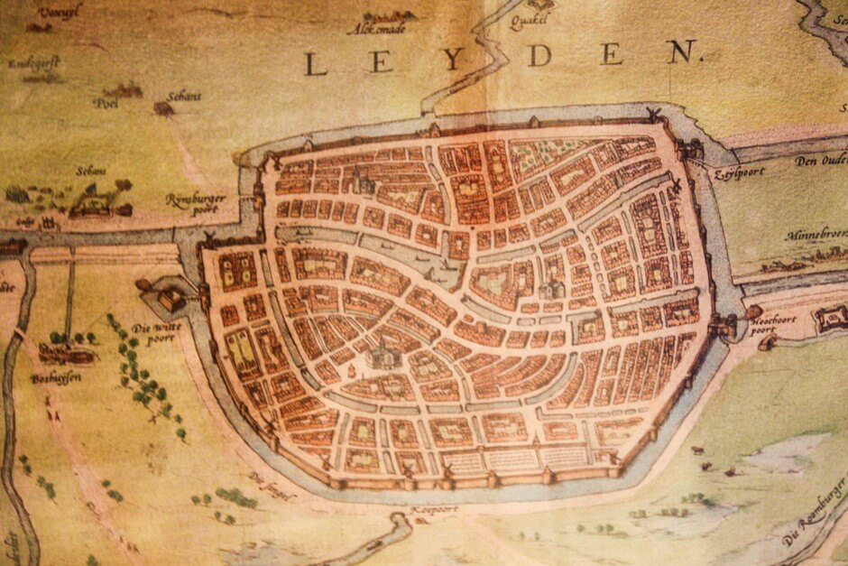 Old city map of Leiden Holland