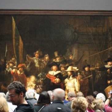 Rembrandt's Night Watch - swarmed by visitors to the Rijksmuseum in Amsterdam