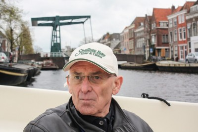 Petar enjoys our boat tour through Leiden Holland