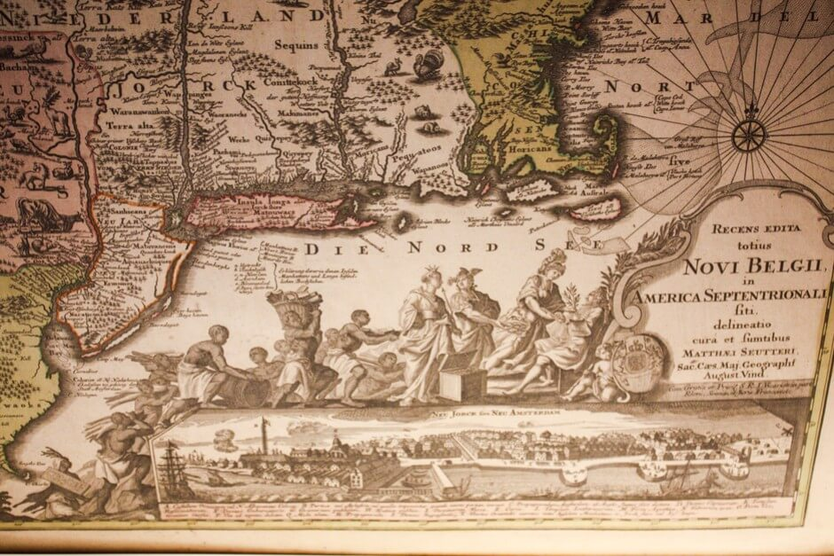 Unusual coastline on the map from the time of the Pilgrim Fathers