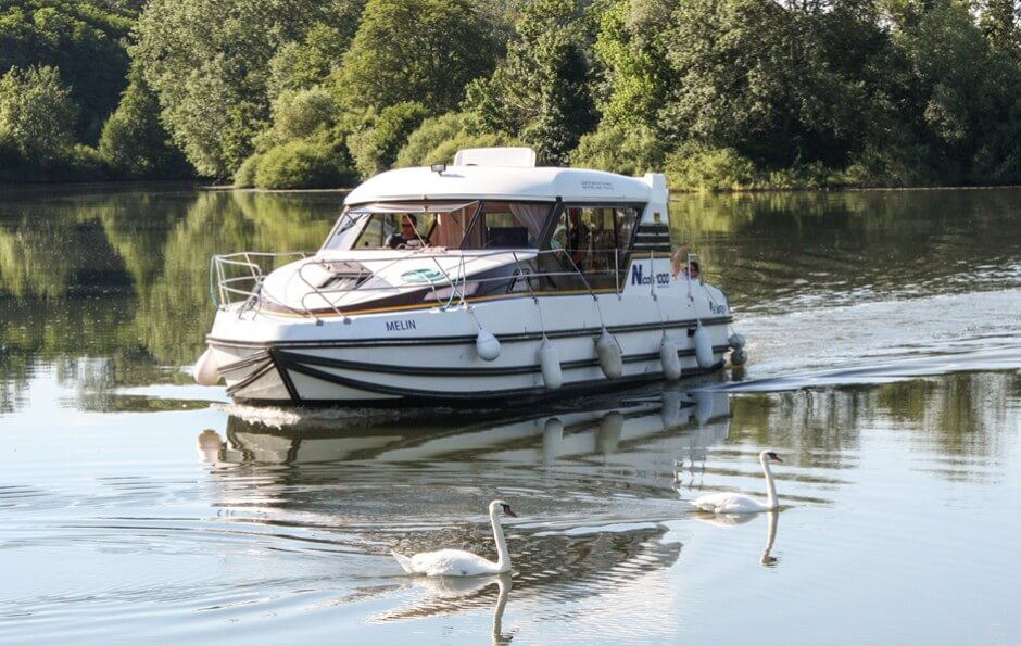 Do not be afraid of houseboats - the swans on the Saone - travel slowly