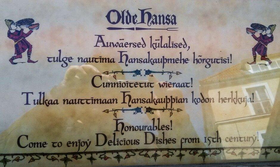 Tallinn Sehenswürdigkeiten - mittelalterlich essen in De Olde Hansa