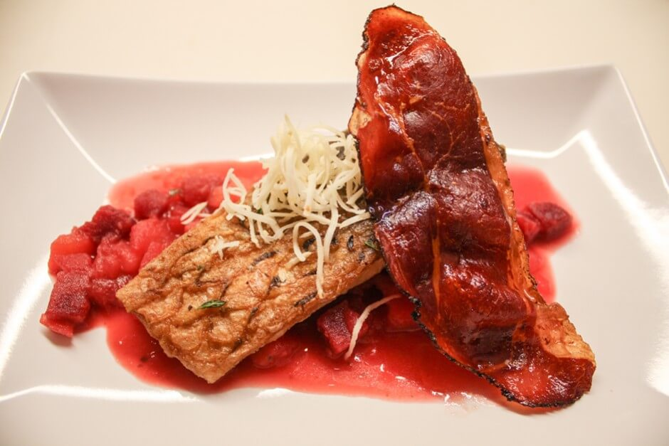 Waldviertel specialties - organic carp with smoked crust and bacon
