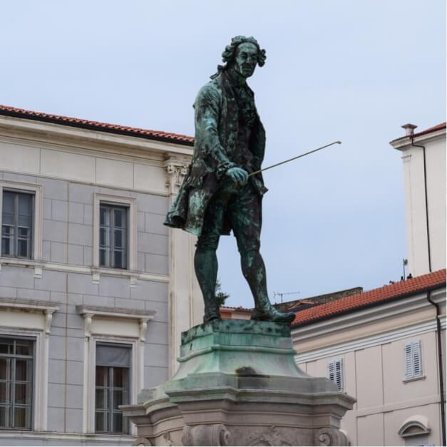 Giuseppe Tartini auf dem Hauptplatz von Piran, das Fischerdorf an der Adria