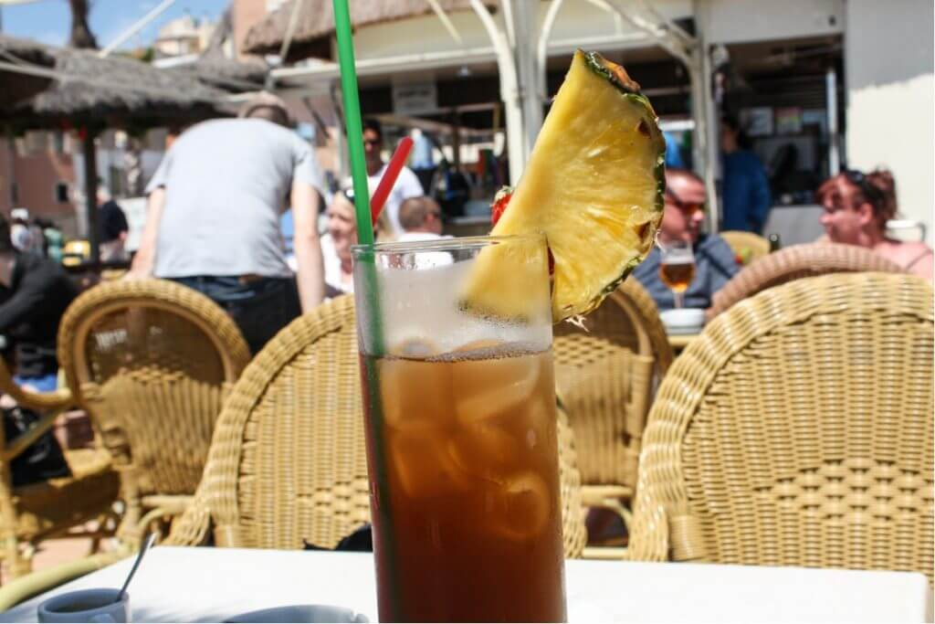 Pineapple Iced Tea in a beach bar of Lloret de Mar