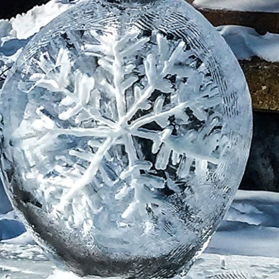 Snowflake in the ice at Winterlude in Ottawa