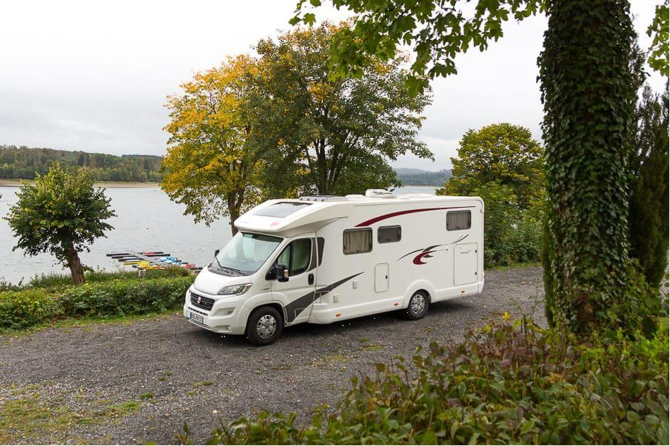 Motorhome parking space at the Möhnesee