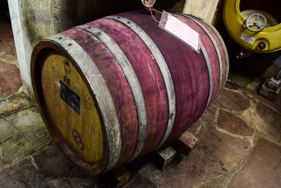 Red wine barrel in the wine cellar of the winery Waigand Wein vom Main