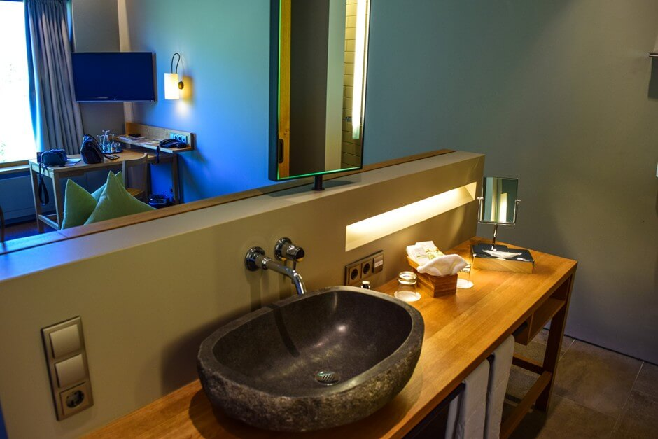 Open bathroom in our room in the refuge