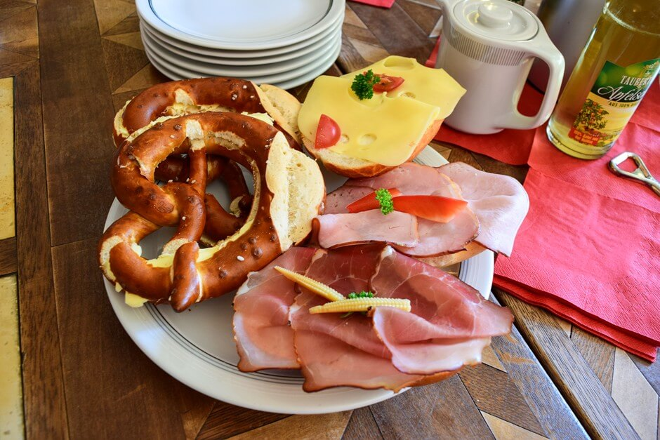 Pretzel and ham sandwiches in Bronnbach Abbey on the route of delights