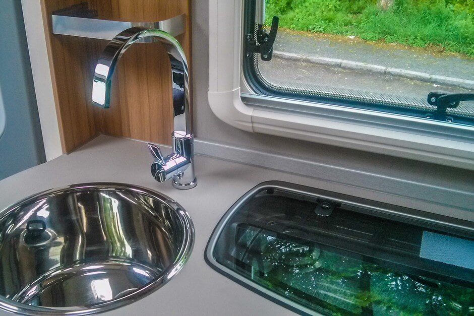 Kitchen area in the motorhome