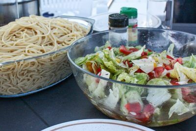 Cooking in RV or houseboat - spaghetti with salad