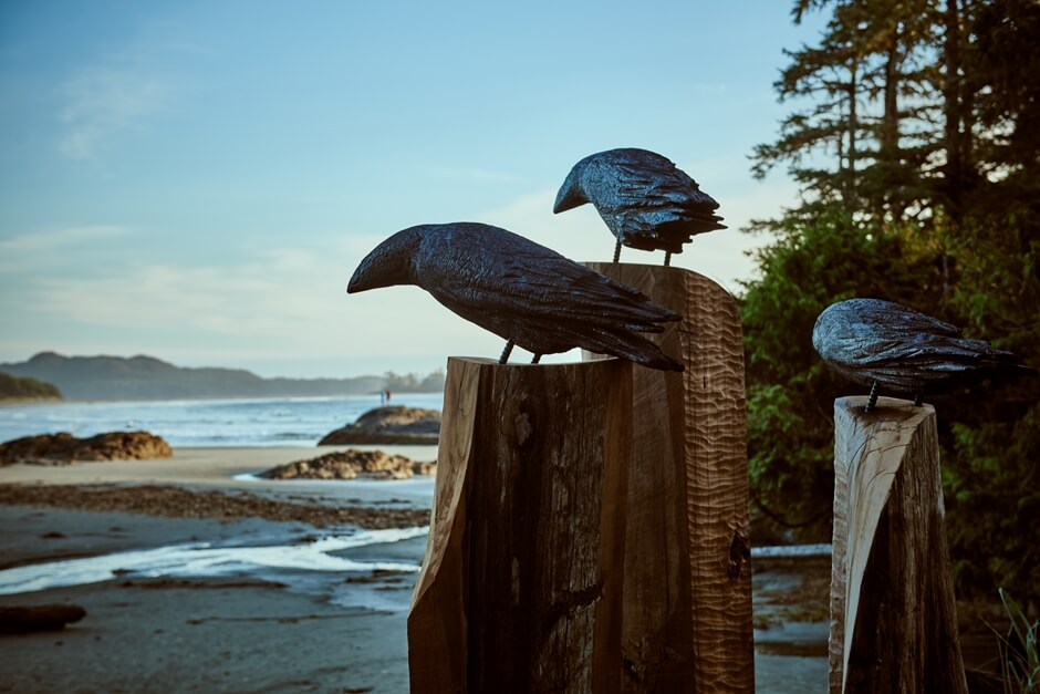 Indianer Kunst und Handwerk in Tofino am Chesterman Beach Ravens Michael Becker