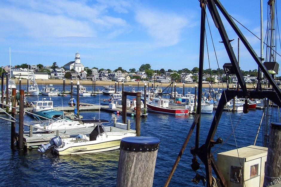 Harbor Beach in Provincetown with boats