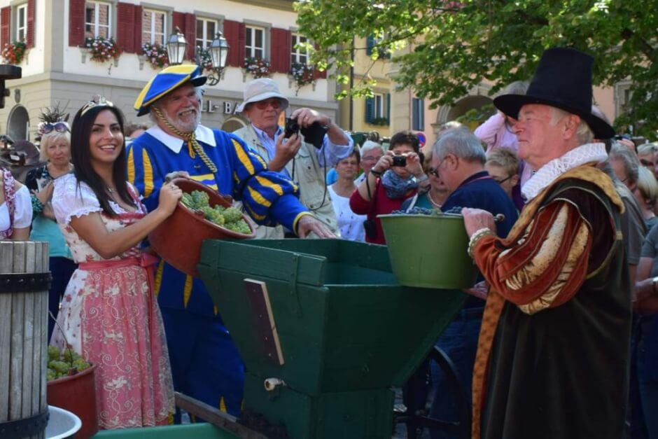 Landsknecht, councilor and wine prince from Volkach press the first grapes - wine weekend wine towns in Franconia