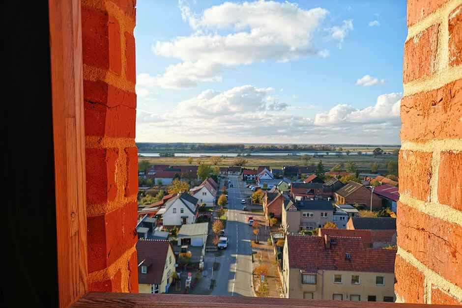 The Elbe from the tower of the church in Sandau on the Romanesque Road in Saxony Anhalt