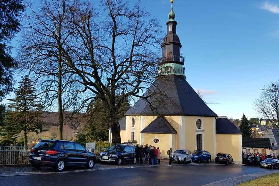 Motiv für erzgebirgische Volkskunst - Seiffener Bergkirche