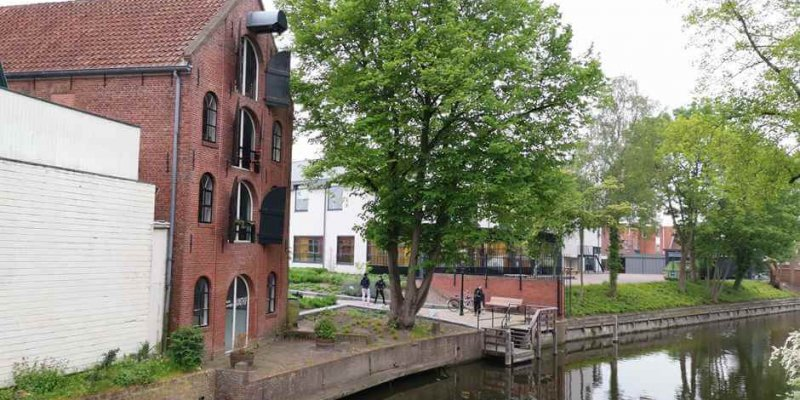 At the canal in Appingedam on the Dutch North Sea coast