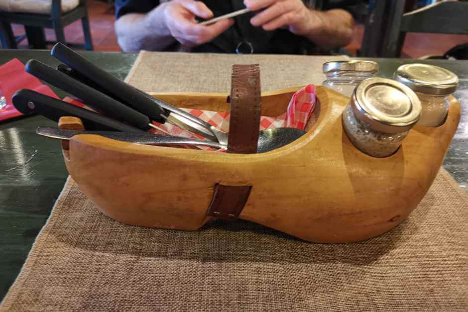 Cutlery in a wooden shoe - typical Dutch North Sea coast