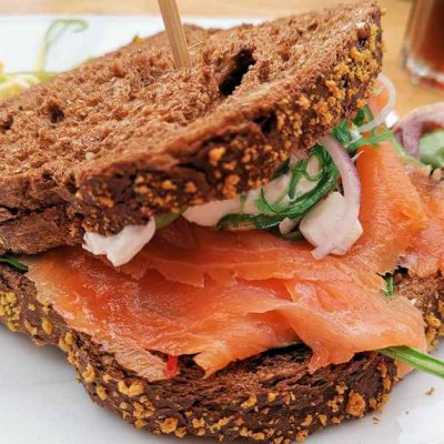 Smoked Salmon Sandwich - One of my Texel Tips for Foodies -