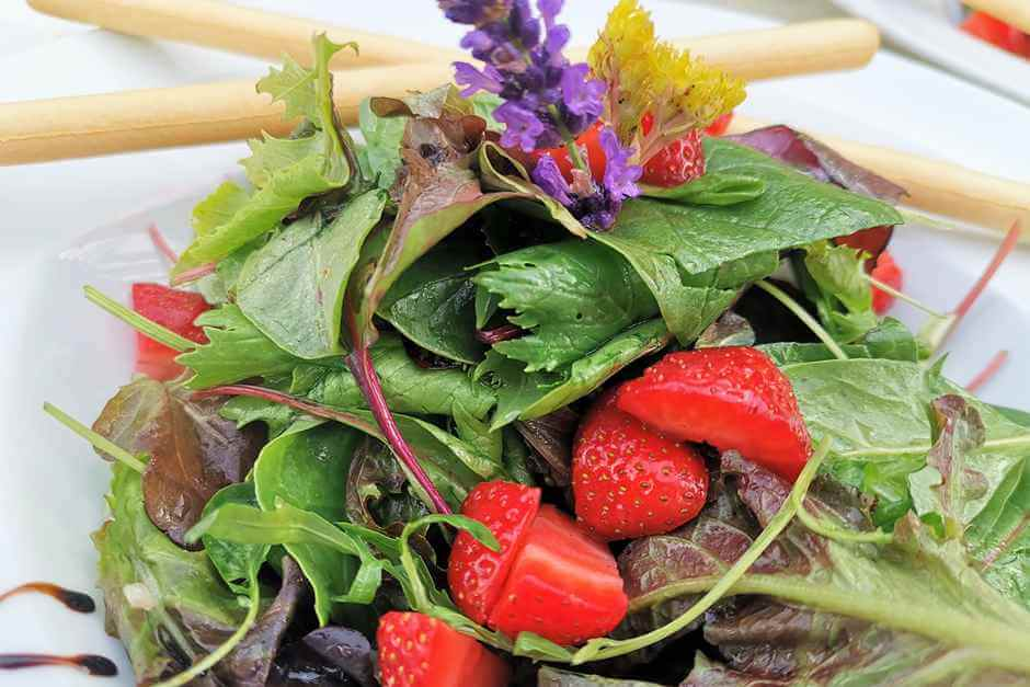 Wild herb salad with shallots Strawberry dressing and Grissini Hessian specialties
