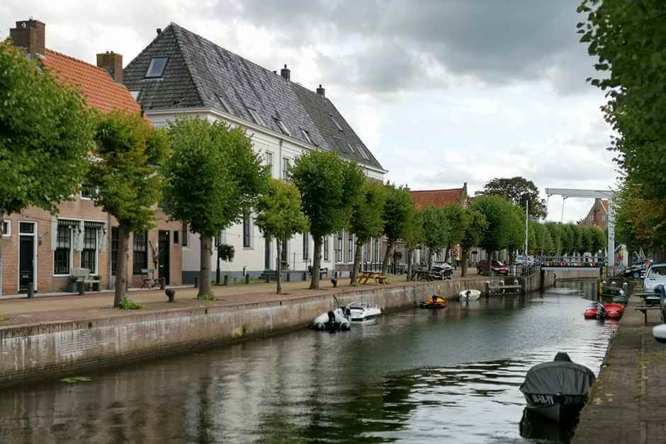 On the Prinsengracht in Hasselt Netherlands sights at the harbor