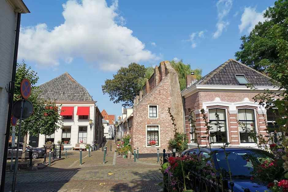 Wall houses at the city wall. Holland's beautiful cities