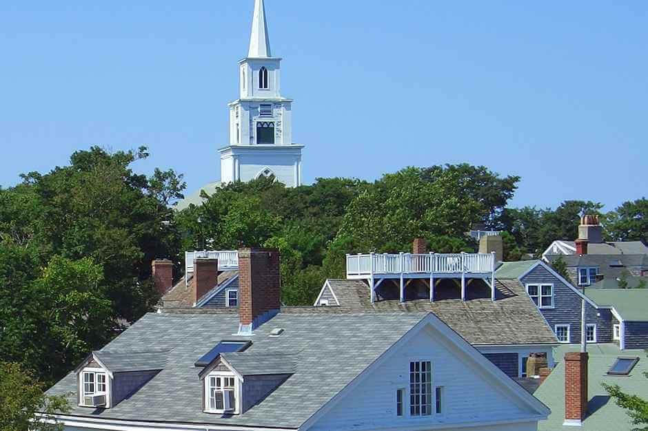 Captains Lookout in Nantucket - Kommt der Ehemann von der Wal Tour nach Hause? Whale Watching Massachusetts in alter Zeit.