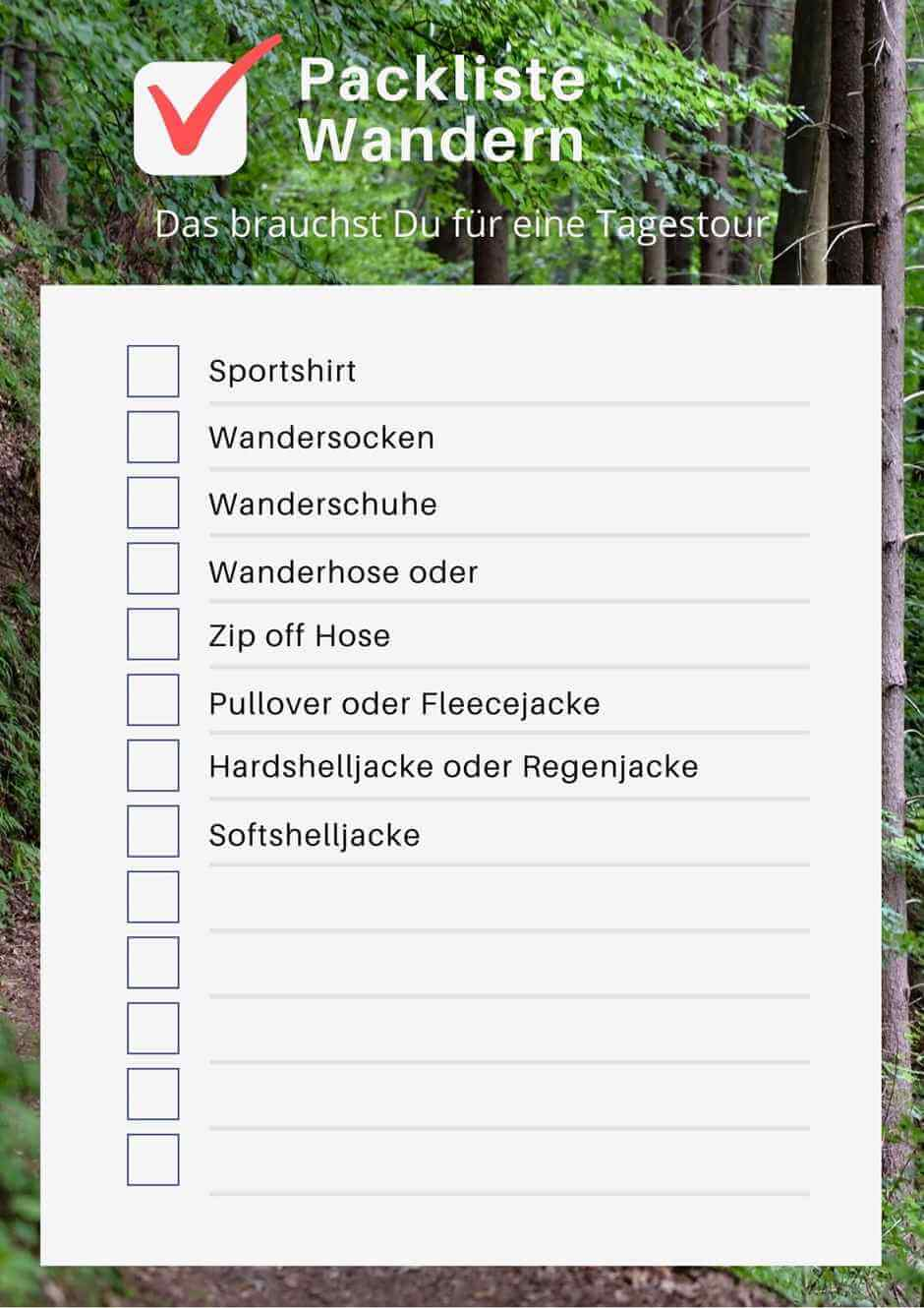 Packing list hiking