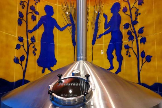 Brew kettle in the Freistadt brewery