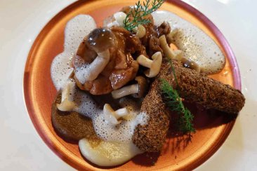 Sweetbreads with black salsify and mushrooms