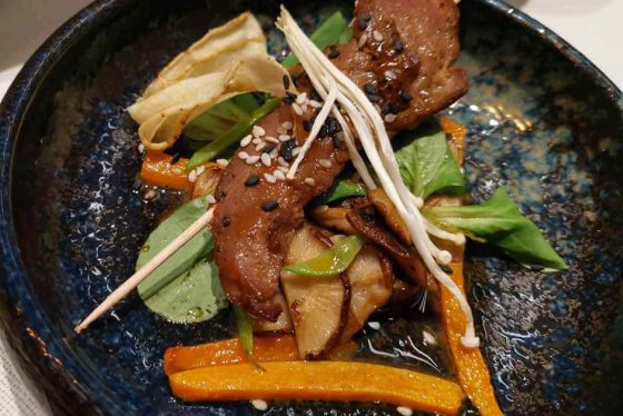 Lacquered fillet of duck, teriyaki, Asian mushroom salad - the finest pub culture